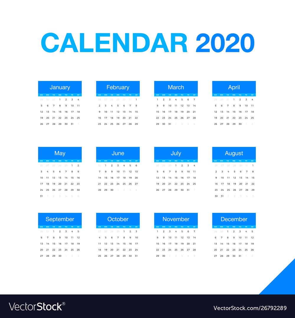 Minimalistic desk calendar 2020 year design of