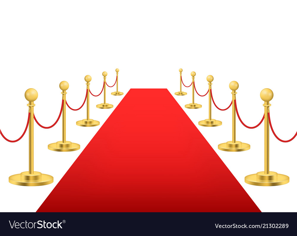 Realistic detailed 3d luxury red carpet with gold vector image