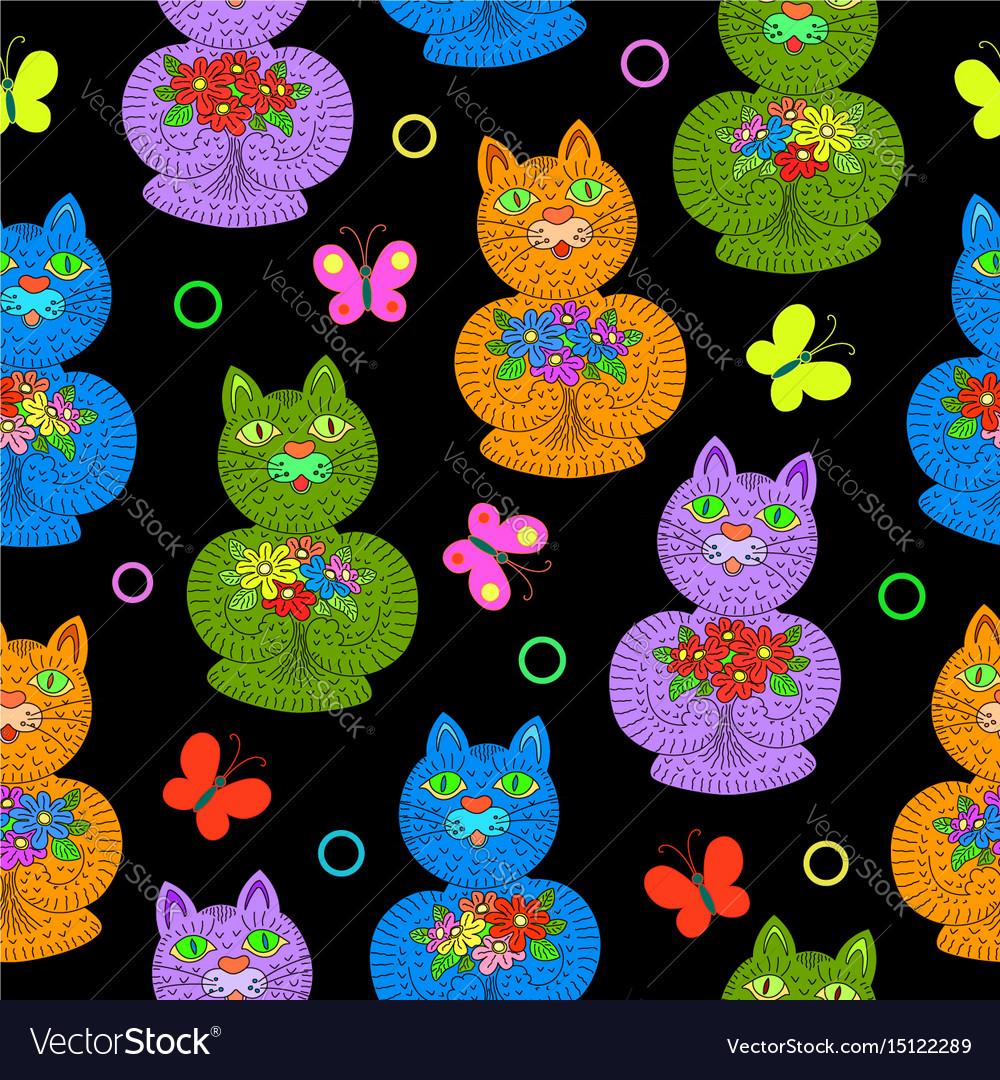 Seamless pattern hand drawn cartoon cats