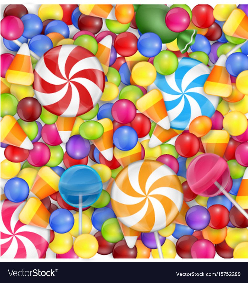 Sweets background with lollipop candy corn and gu vector image
