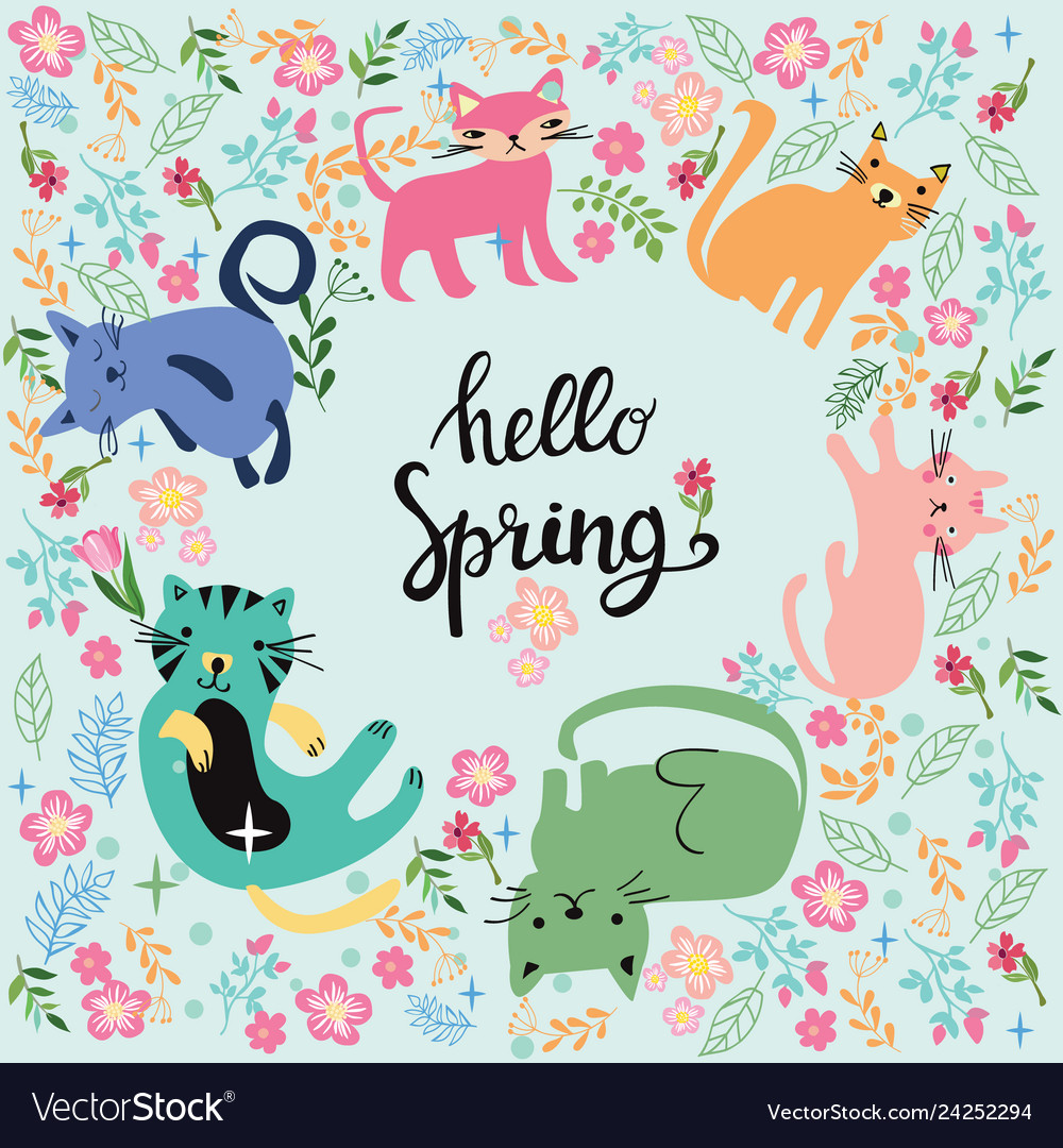 And inscription hello spring in circle with cats