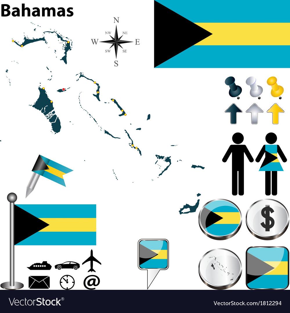 Bahamas map vector image
