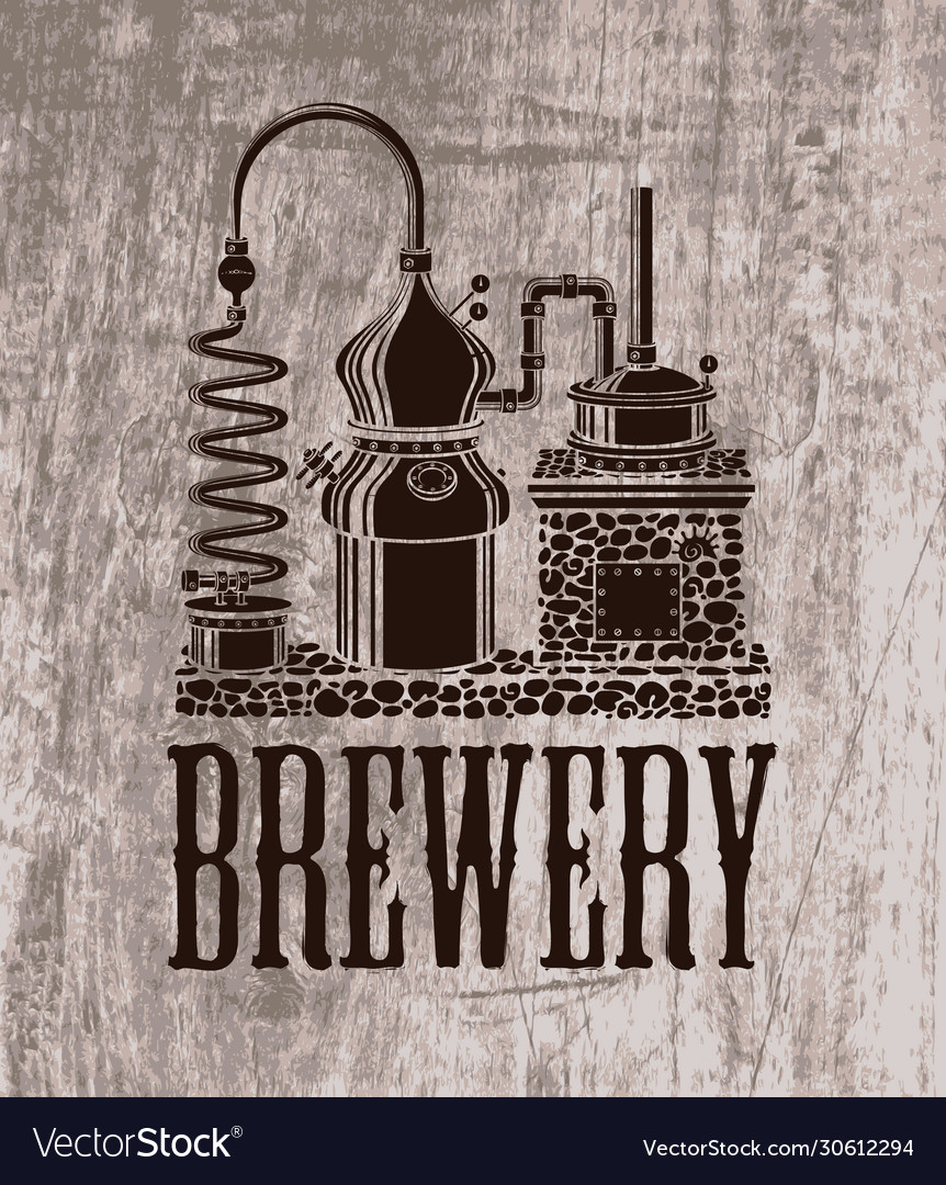 Beer banner with brewery equipment in retro style