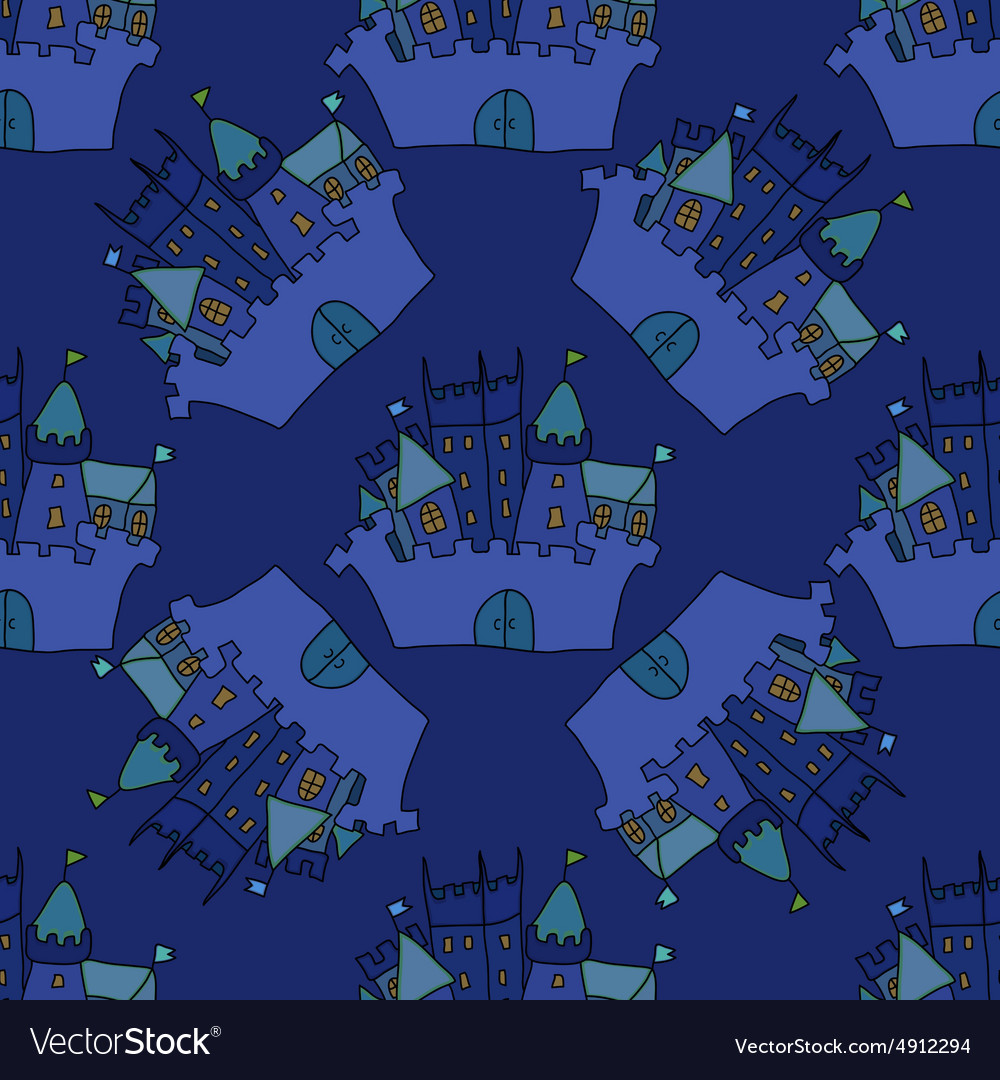 Castle seamless pattern flag fortress