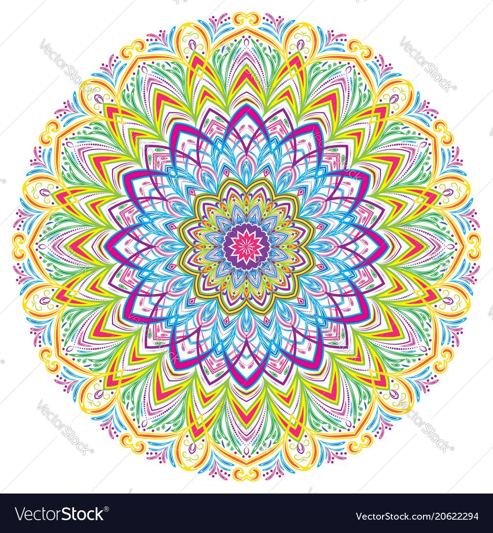 Colorful mandala vintage decorative elements