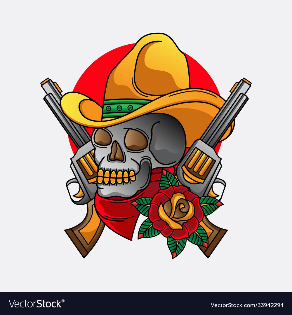 Cowboy skull traditional tattoo
