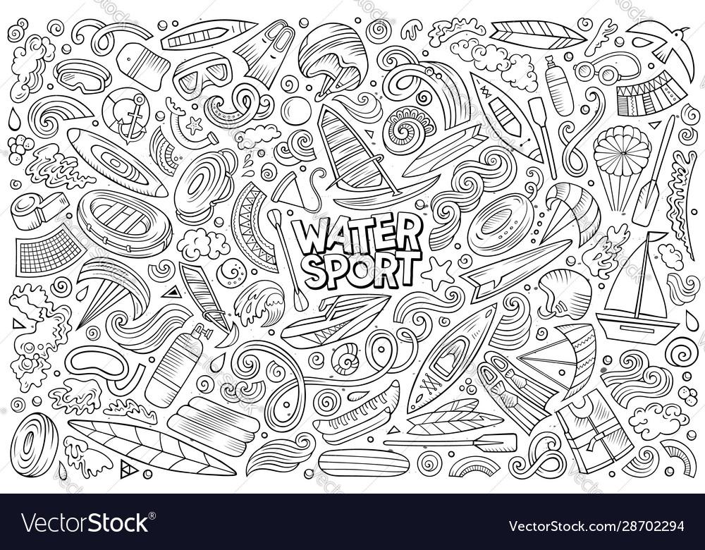 Doodle cartoon set water sport objects