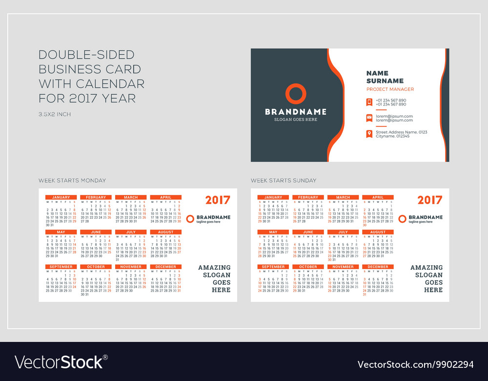 Double sided business card template with calendar vector image colourmoves