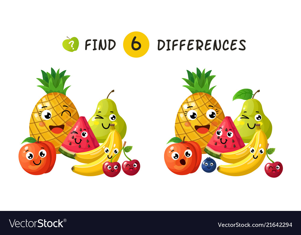 Finding differences children game with happy