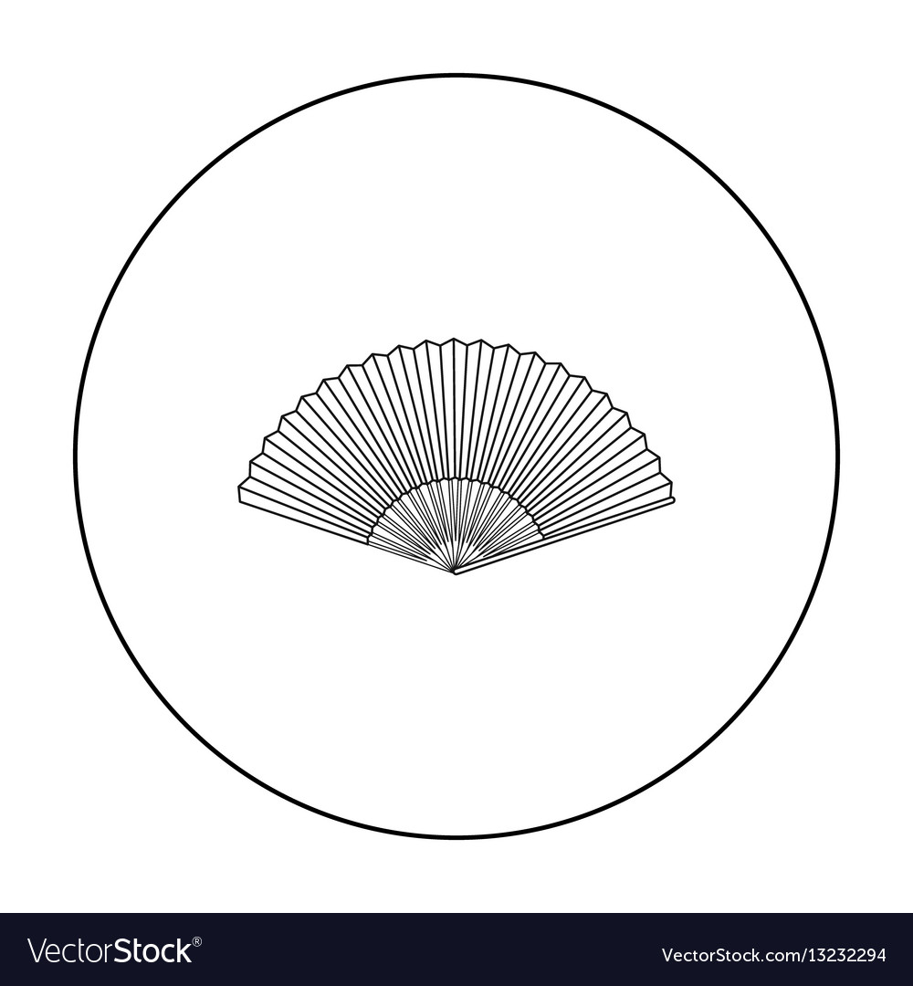 Folding fan icon in outline style isolated on vector image