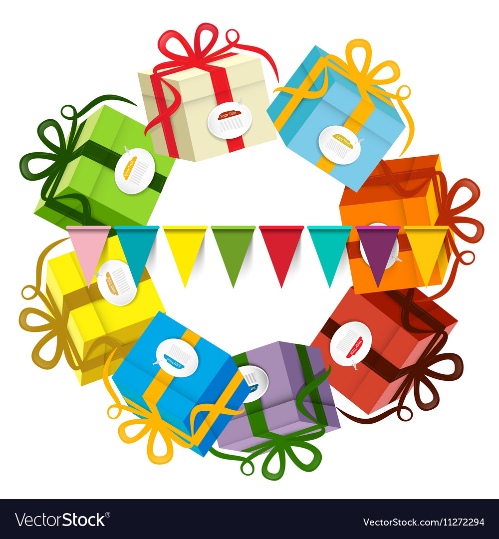 Gift Boxes Present Box Set with Party Flags vector image
