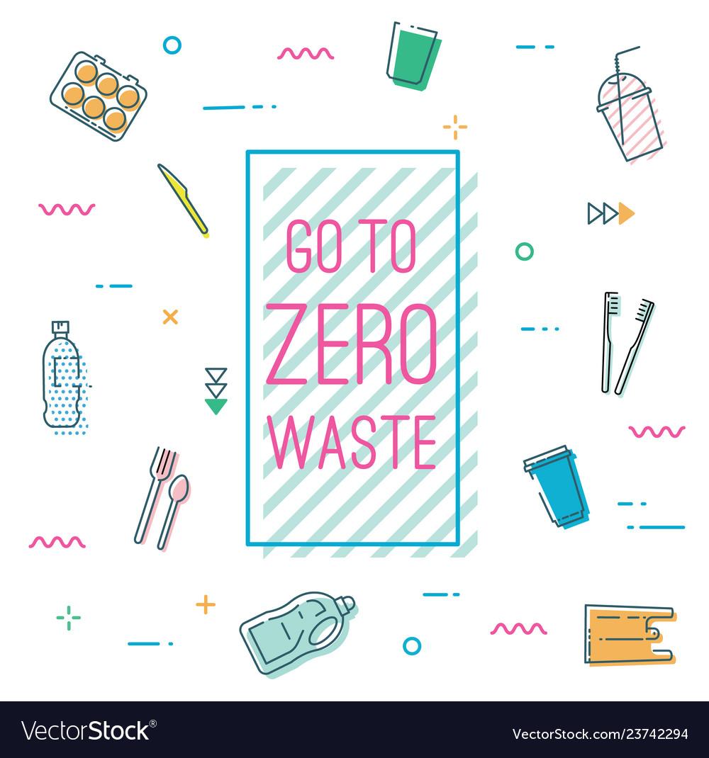 Go to zero waste banner in memphis style