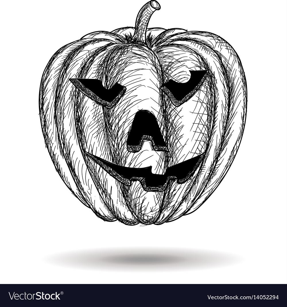 Halloween carved pumpkin hand drawn sketch
