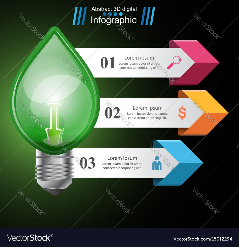 Infographic template eco bulb light leaf icon