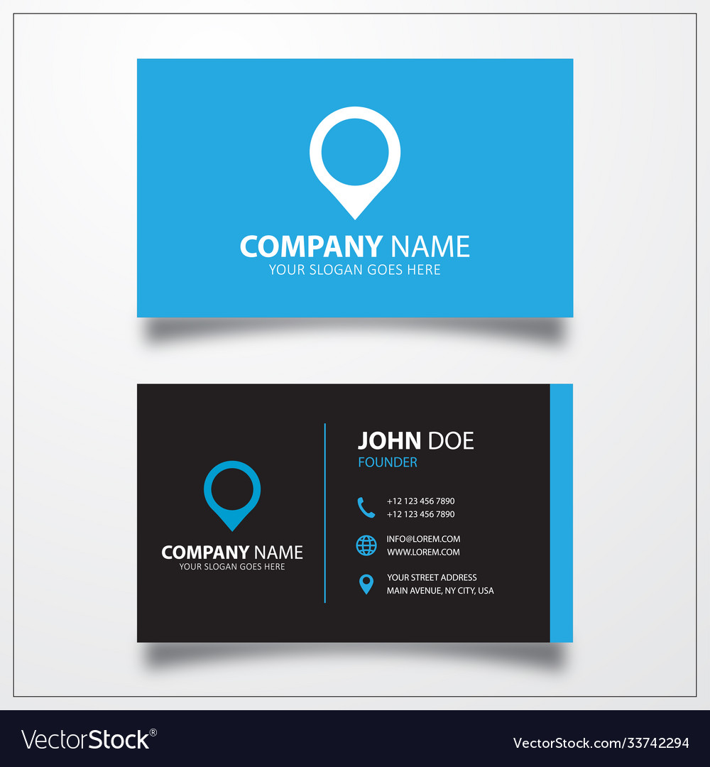 Location pin icon business card template