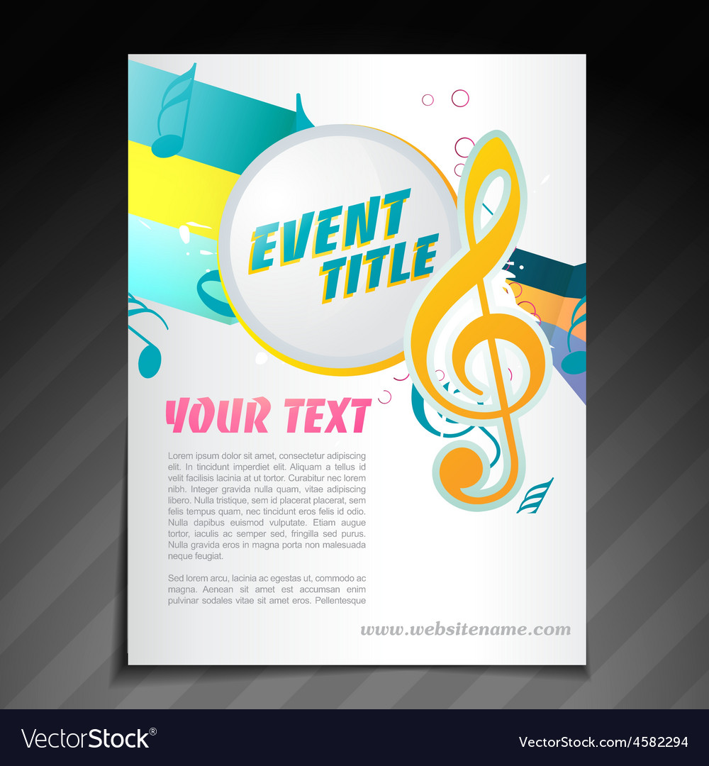 music brochure design royalty free vector image