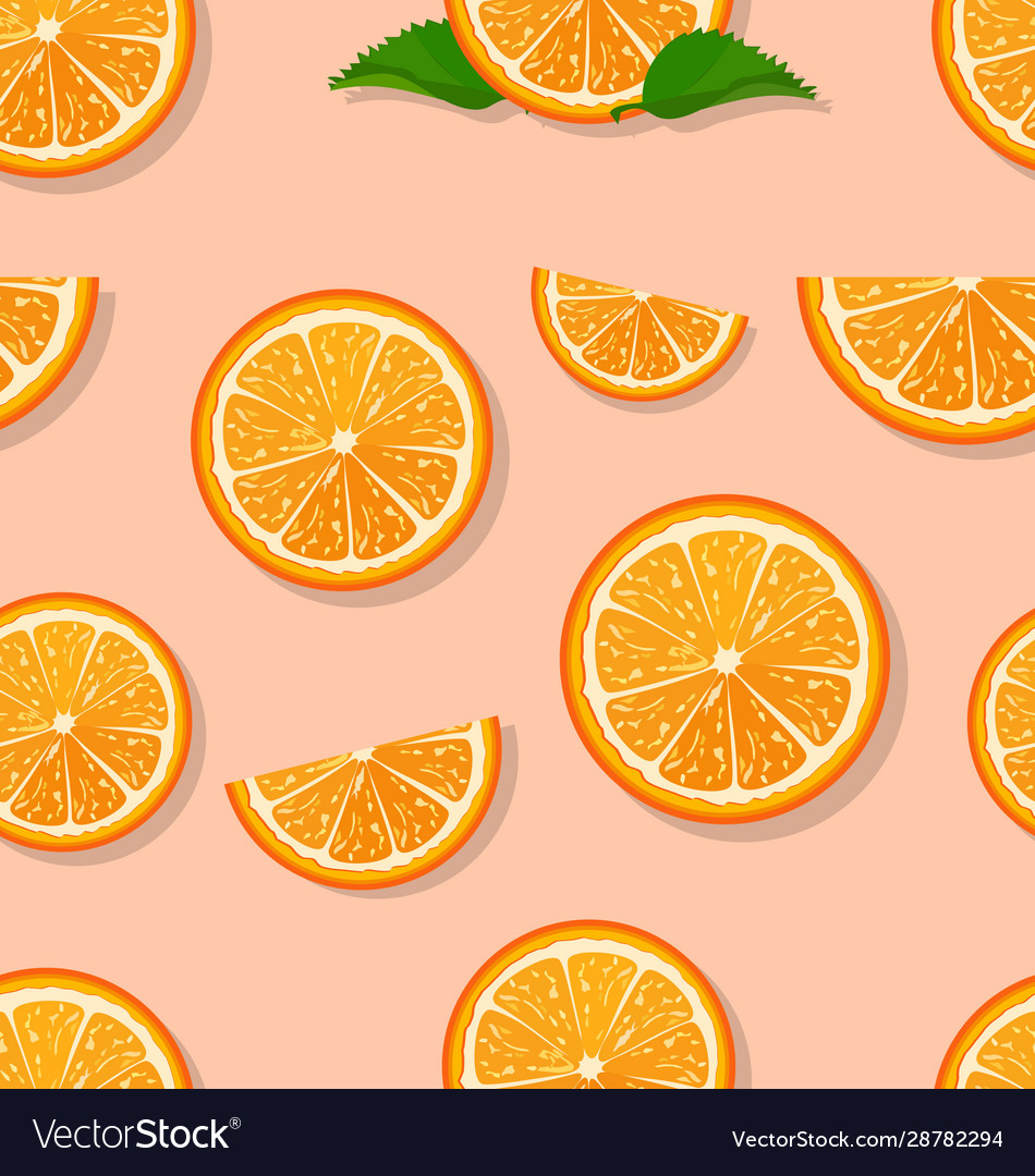 Oranges slices on a white background seamless