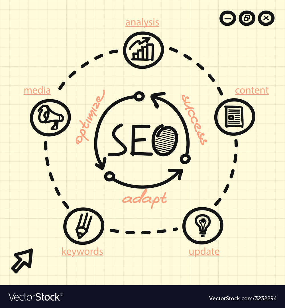 SEO process with arrows words and web icons