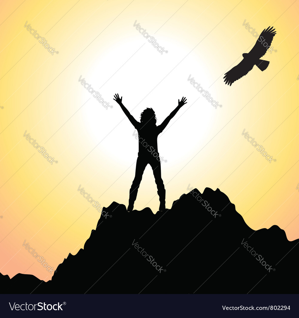 Silhouette of a girl on a mountain vector image