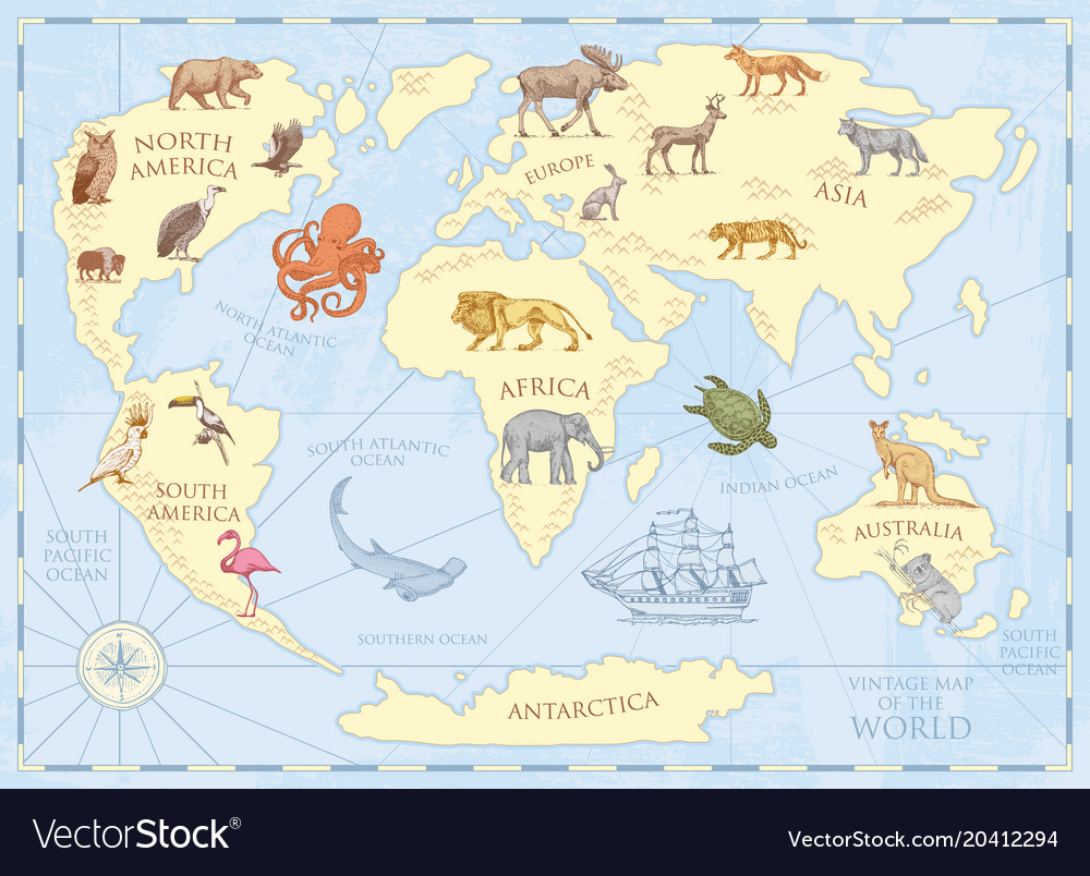 Vintage world map with wild animals and mountains vector image gumiabroncs