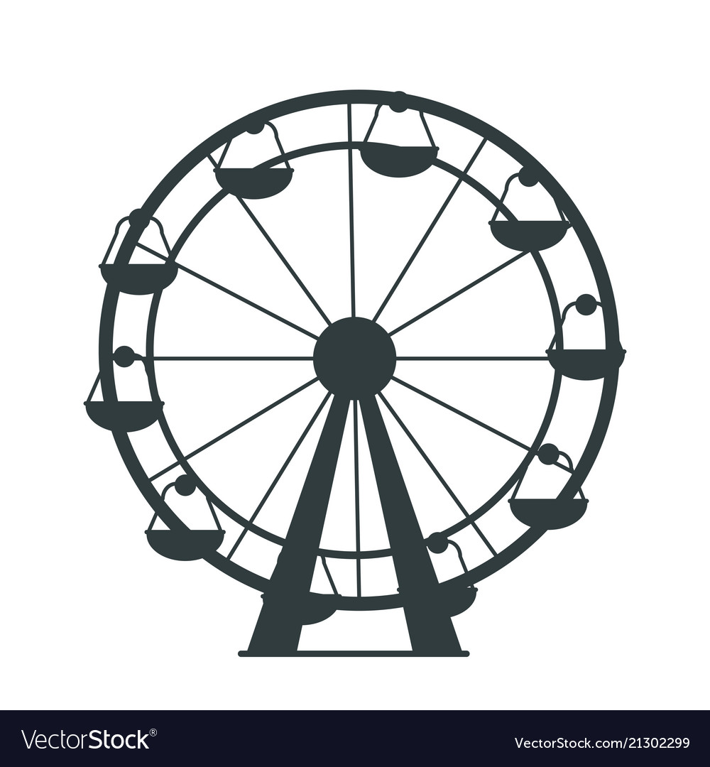 Black Silhouette Ferris Wheel With Lots Cabs Vector Image