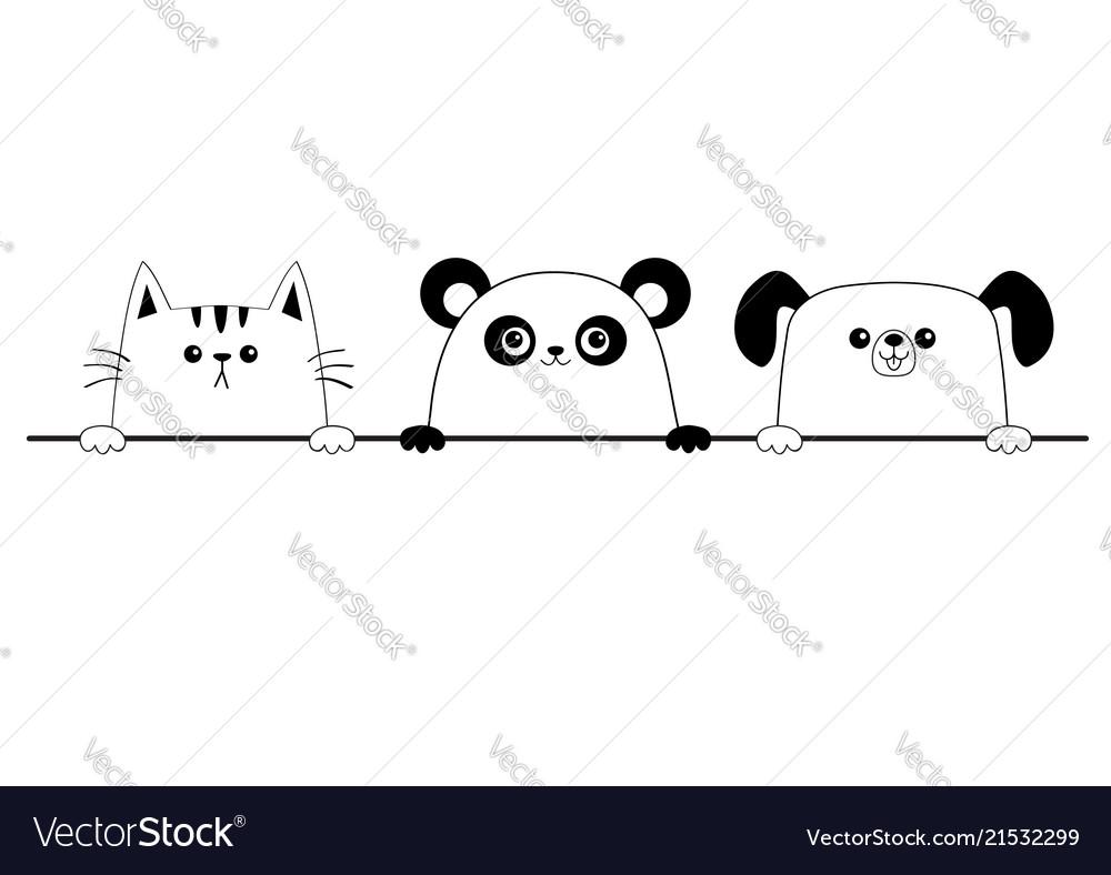 Cat dog panda bear happy face head icon contour