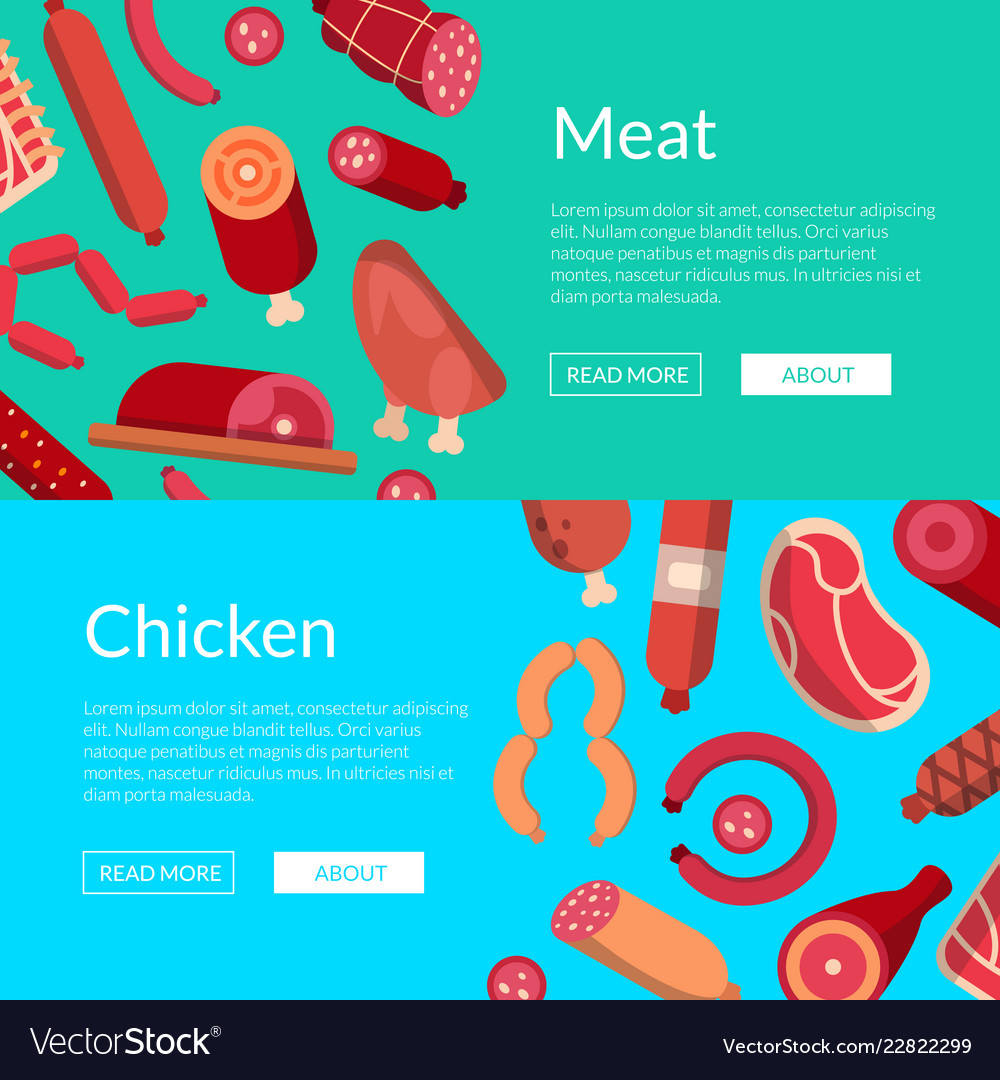 Flat meat and sausages icons web banner