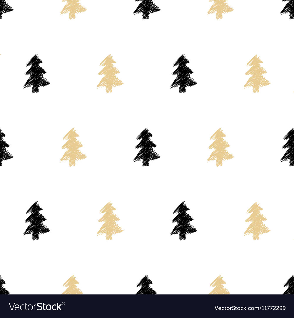 Hand drawn Christmas tree seamless pattern in