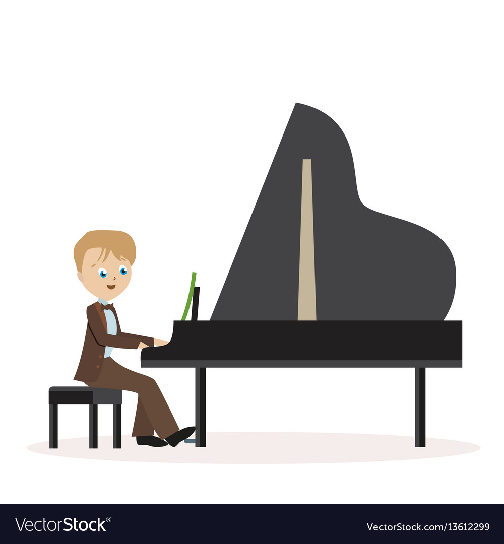 Little boy in a classic suit playing piano flat