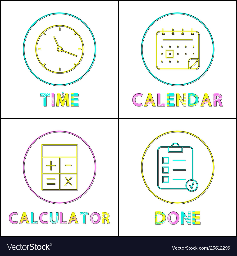 Mobile organizer elements round linear icons set