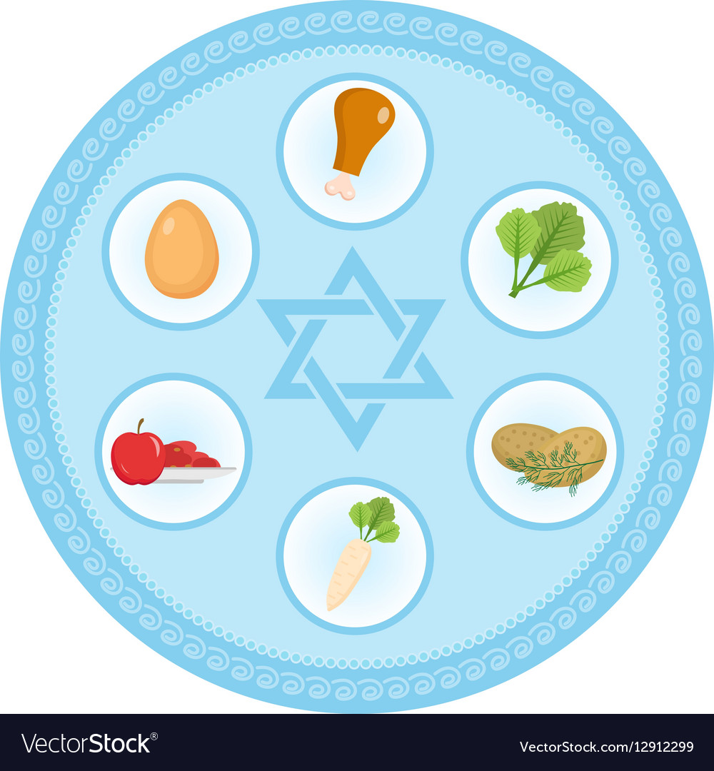Seder Plate Of Food Flat Style Jewish Holiday Vector Image