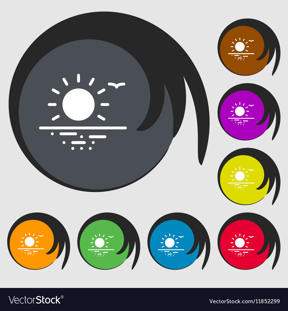 Sunset icon sign Symbols on eight colored buttons