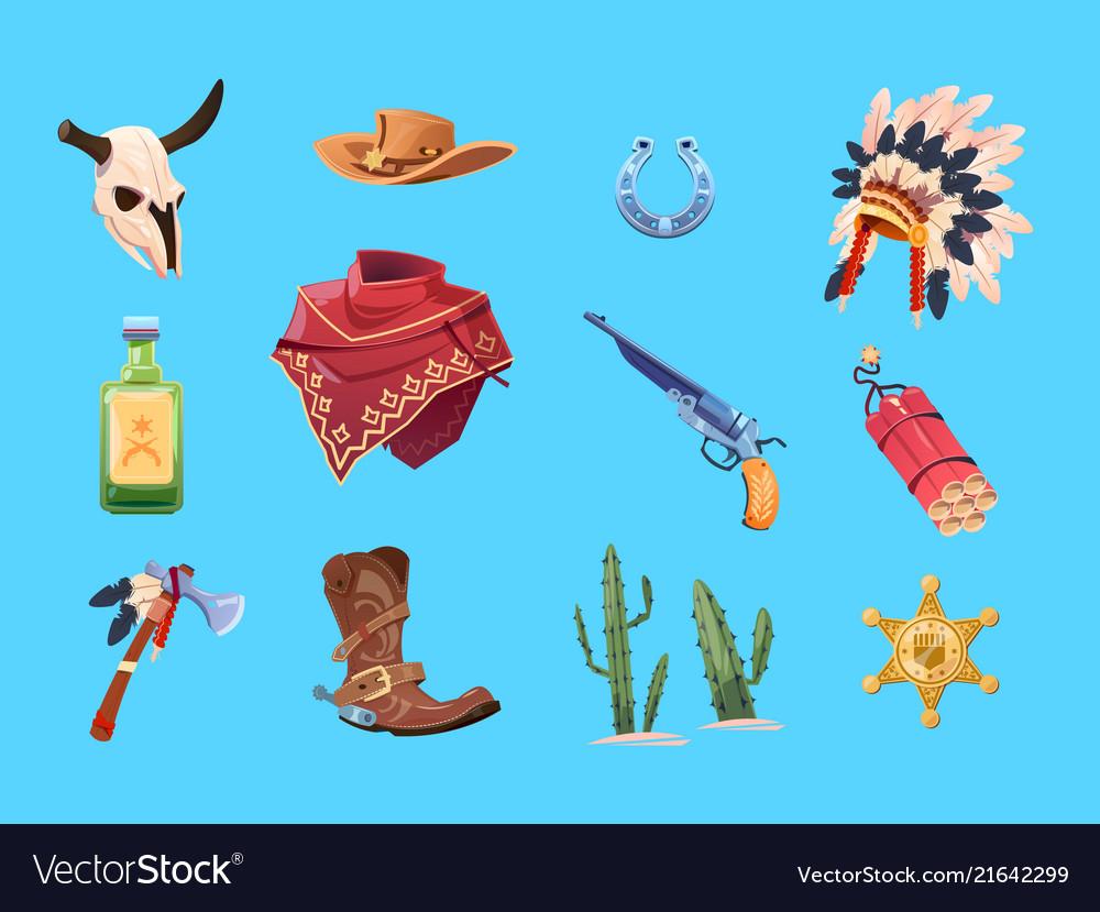 Wild west cartoon set cowboy boots hat and gun