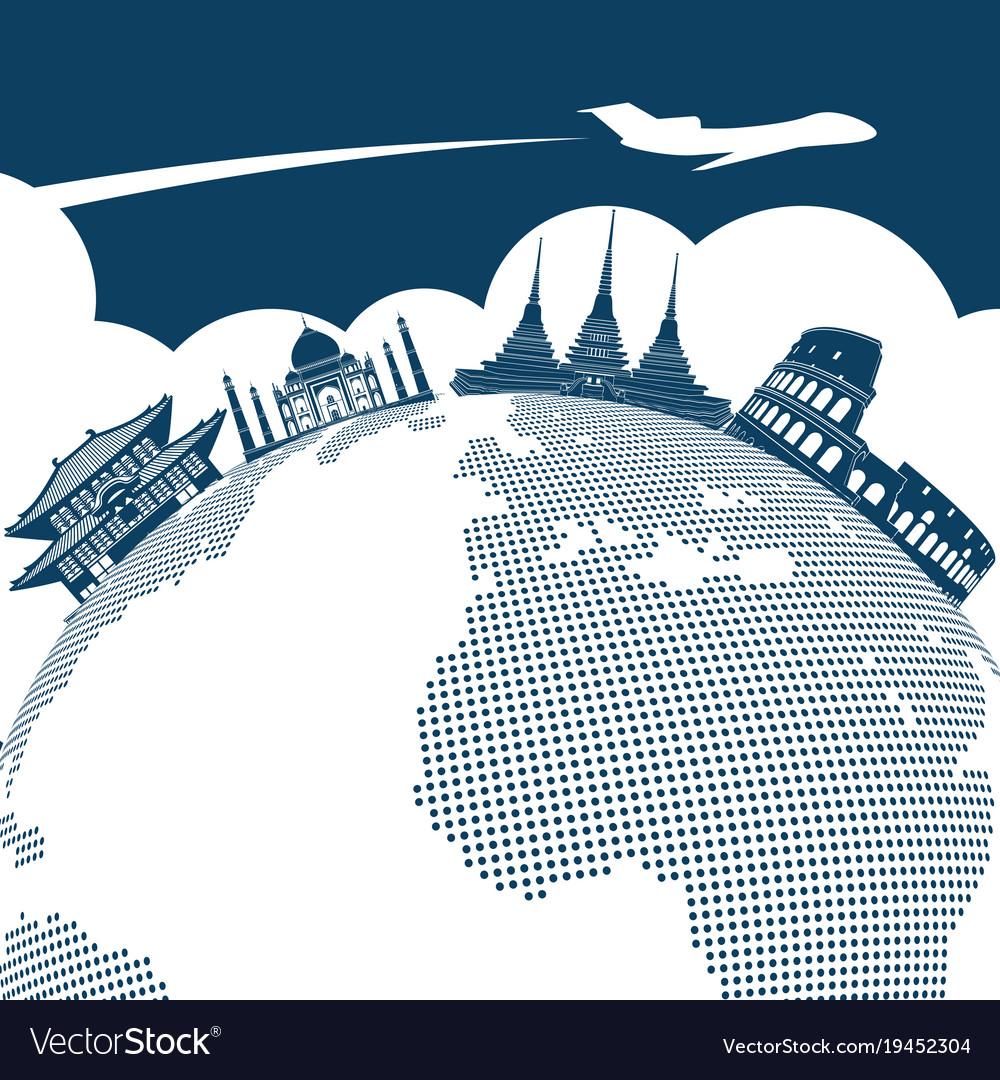 Around The World Travel Background Design Vector Image