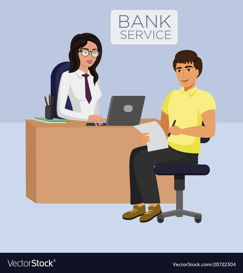 Bank service female manager