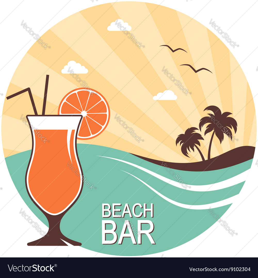 Cocktail over summer landscape vector image