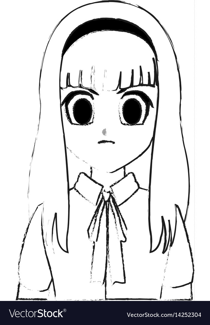 Cute young girl anime or manga icon image