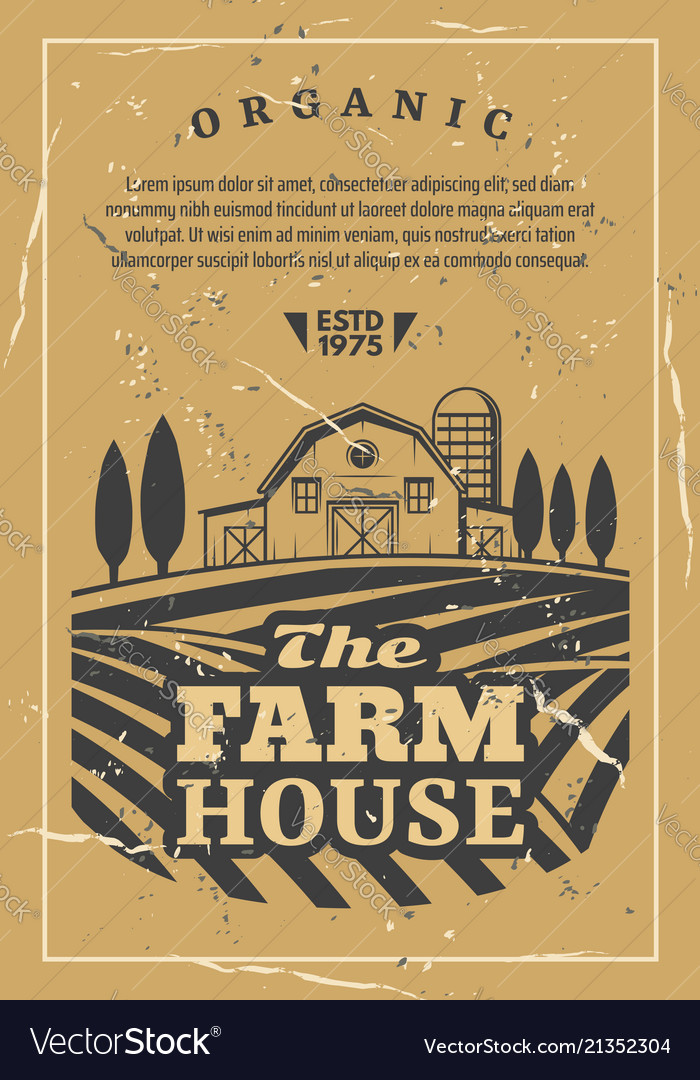 Farm house with field old retro poster