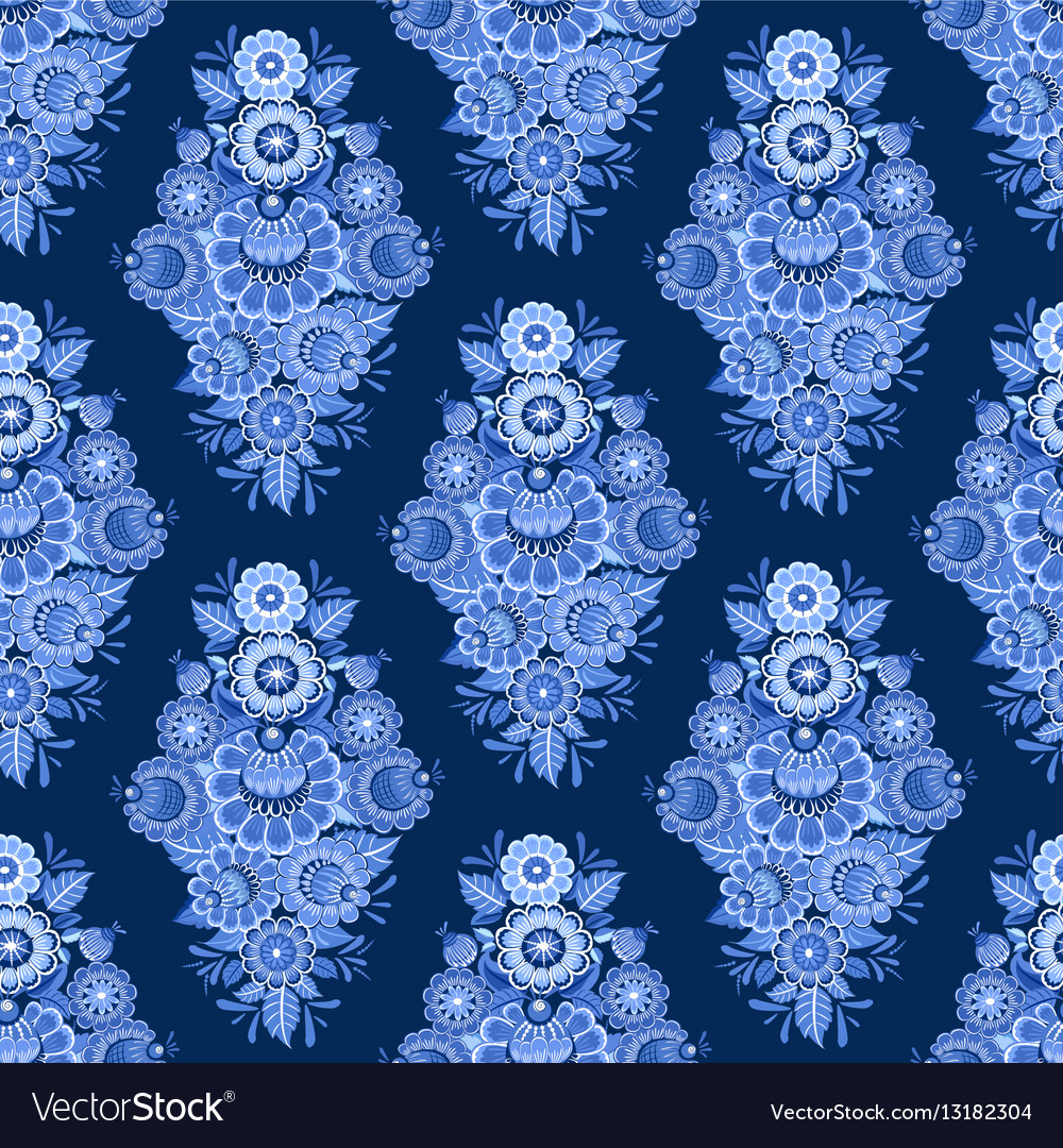 Fashion seamless texture with blue stylized floral