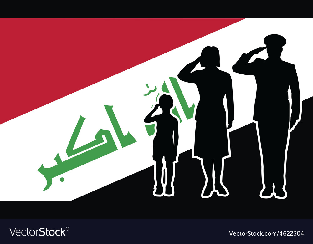 Iraq soldier family salute vector image