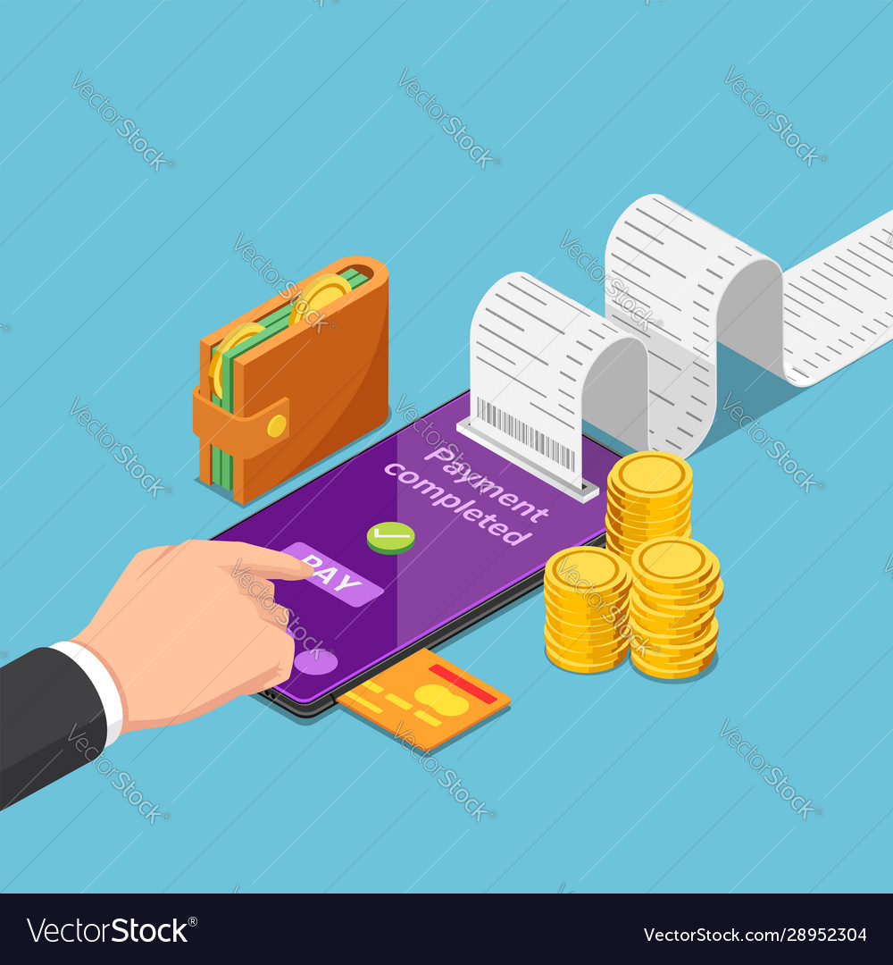 Isometric businessman use smartphone to pay money