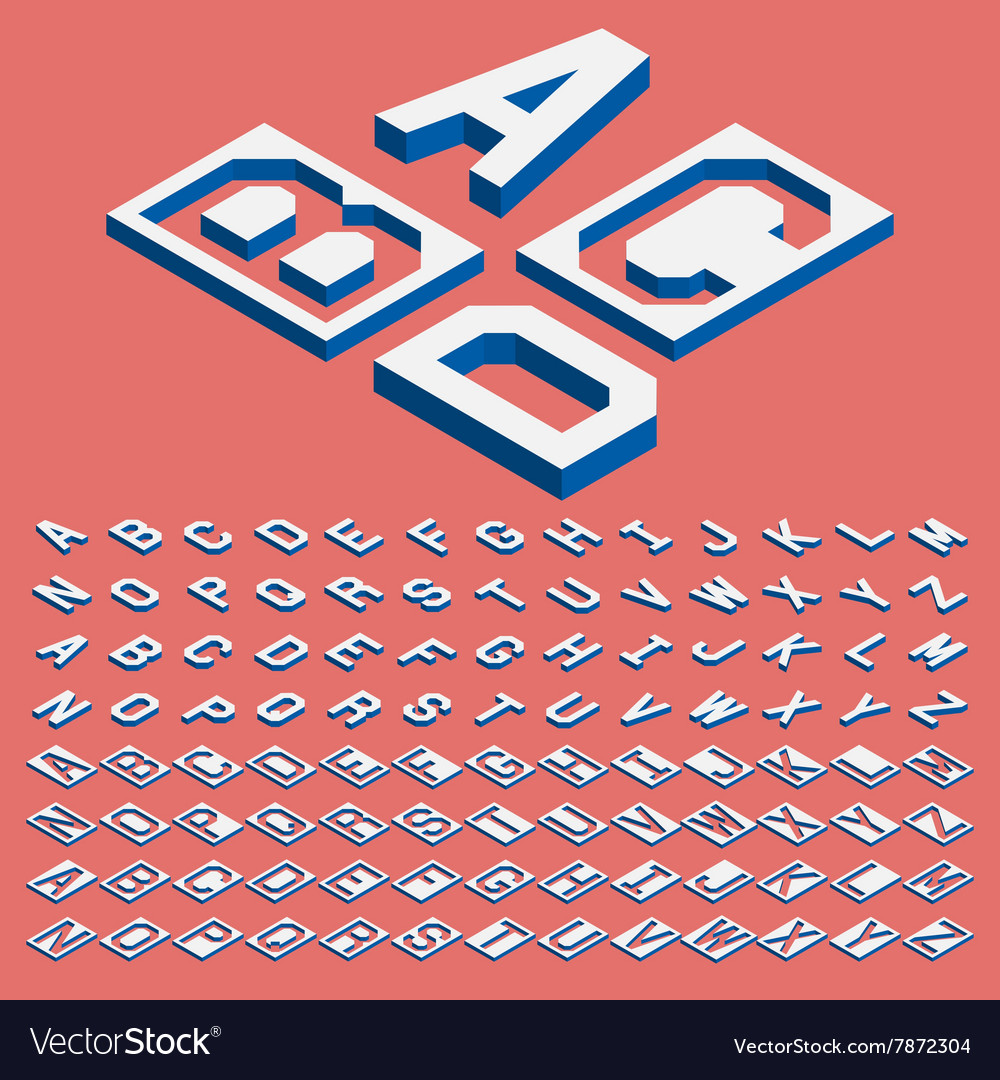 Isometric letters vector image