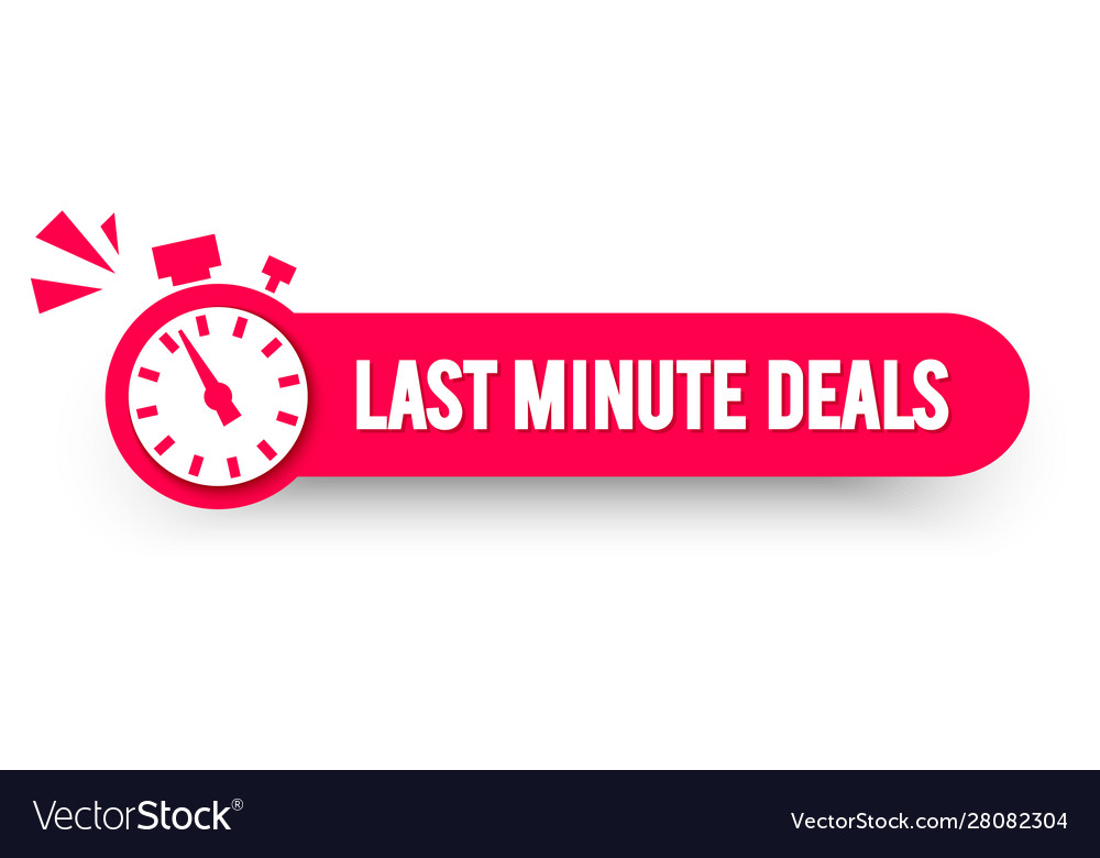 Last minute deals label with stop watch