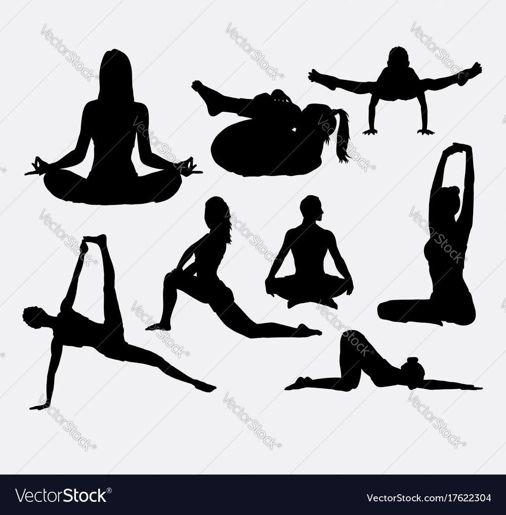 People yoga and acrobat sport silhouette