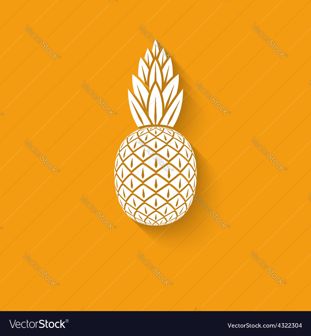 Pineapple tropical fruit symbol vector image