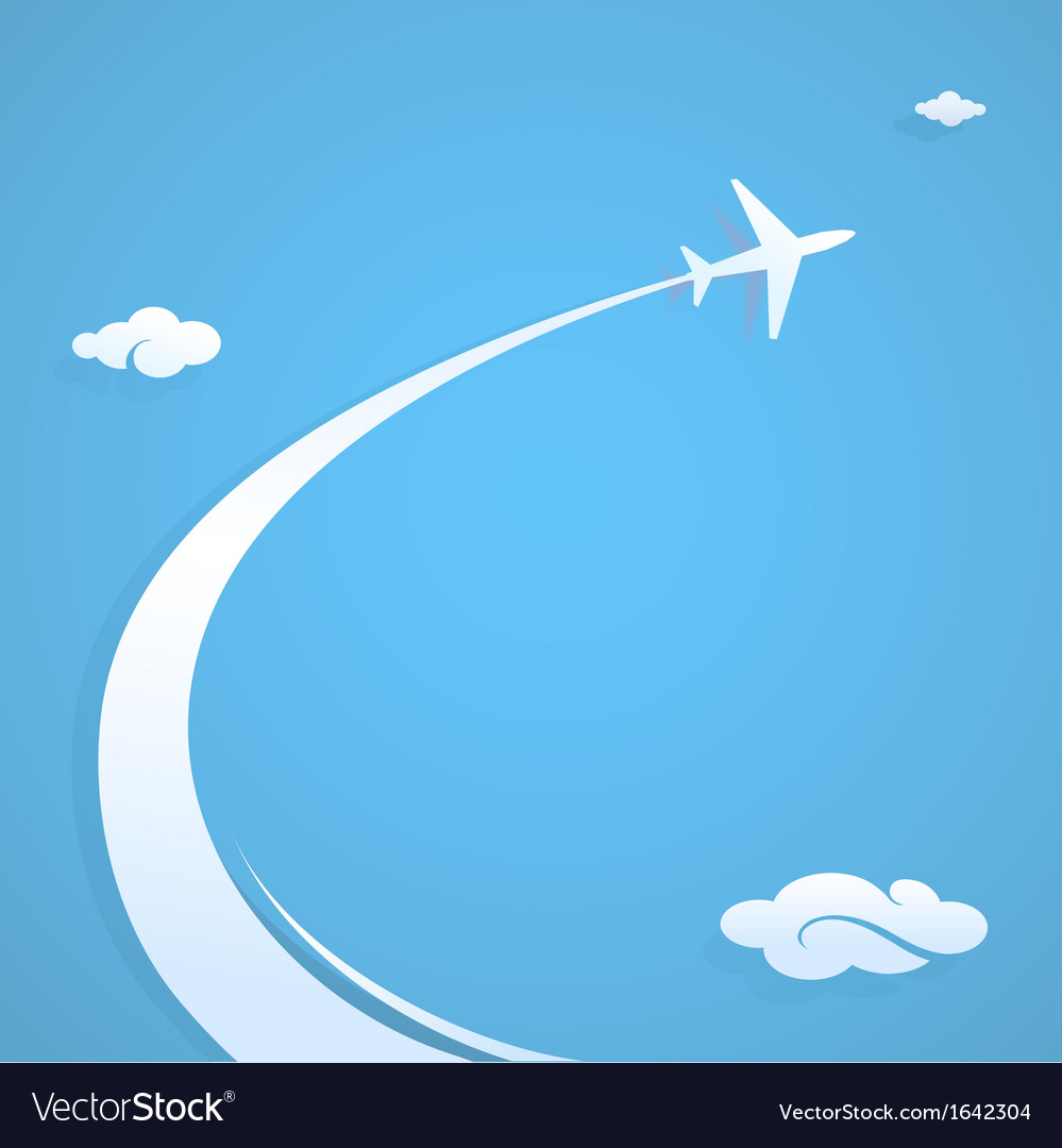 Plane flying in sky vector