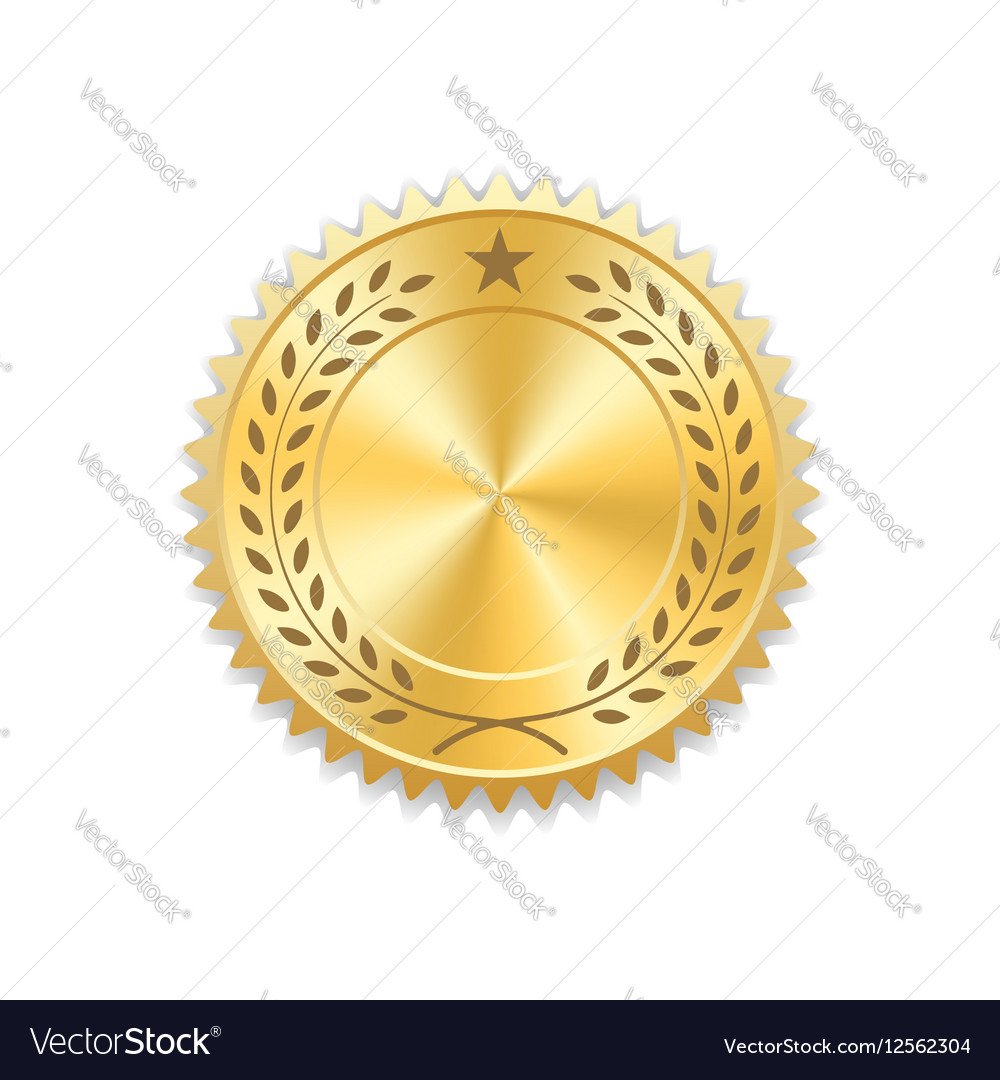 seal award gold icon blank medal royalty free vector image