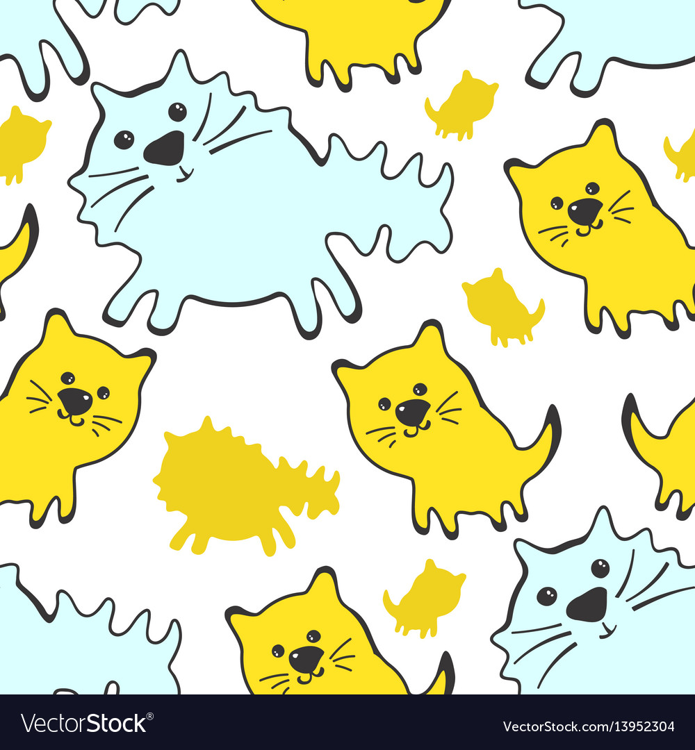 Seamless pattern with cute cats on a white