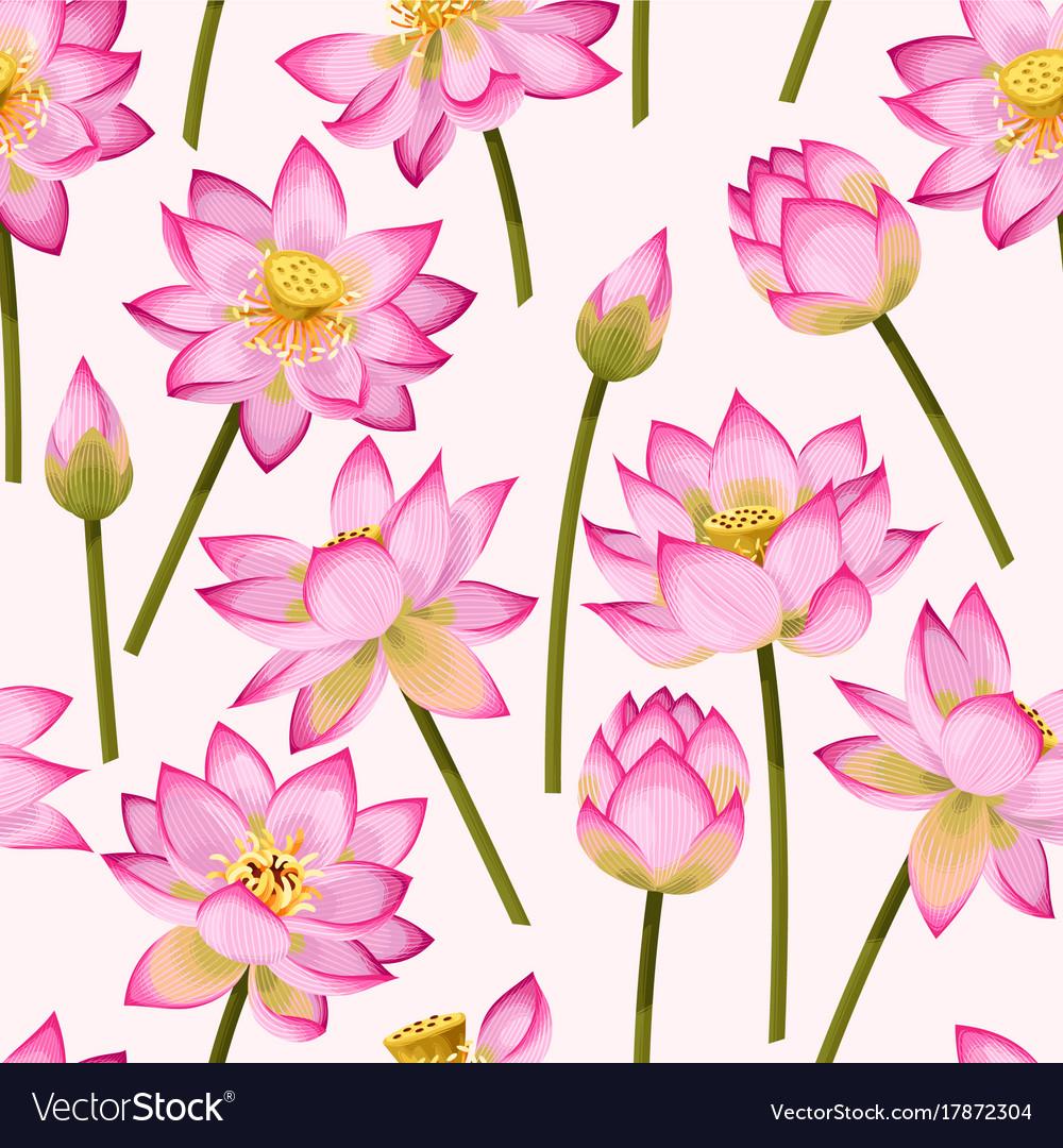 Seamless pattern with lotus flowers royalty free vector seamless pattern with lotus flowers vector image izmirmasajfo