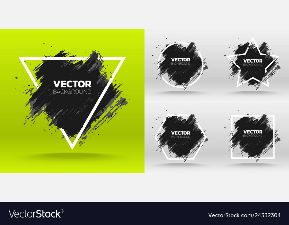 Set of black grunge abstract background template